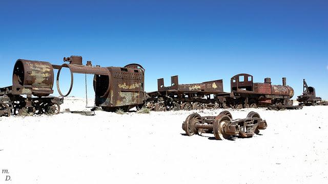 A train graveyard at Uyuni, Bolivia